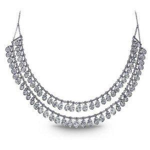 Jewelry - Women necklace double row 5.00 ct diamonds white g